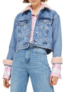 Topshop Tilda Faux Fur Crop Denim Jacket