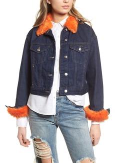 Topshop Tilda Faux Fur Trim Denim Jacket