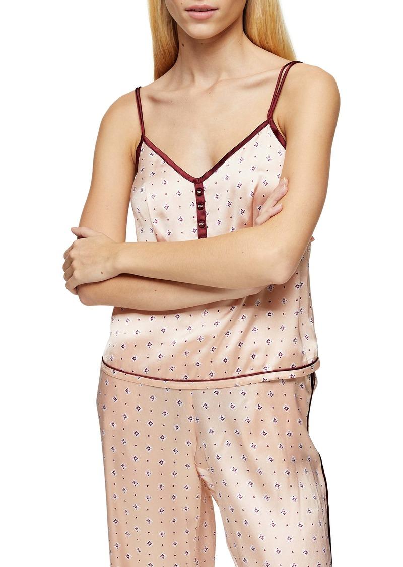 Topshop Tile Print Satin Pajama Camisole