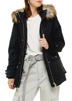 Topshop Tilly Hooded Parka with Faux Fur Trim