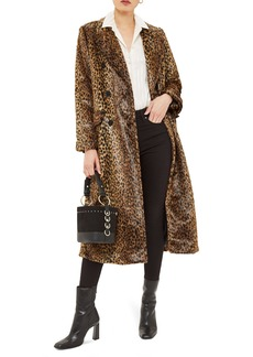 Topshop Toni Faux Fur Leopard Long Coat