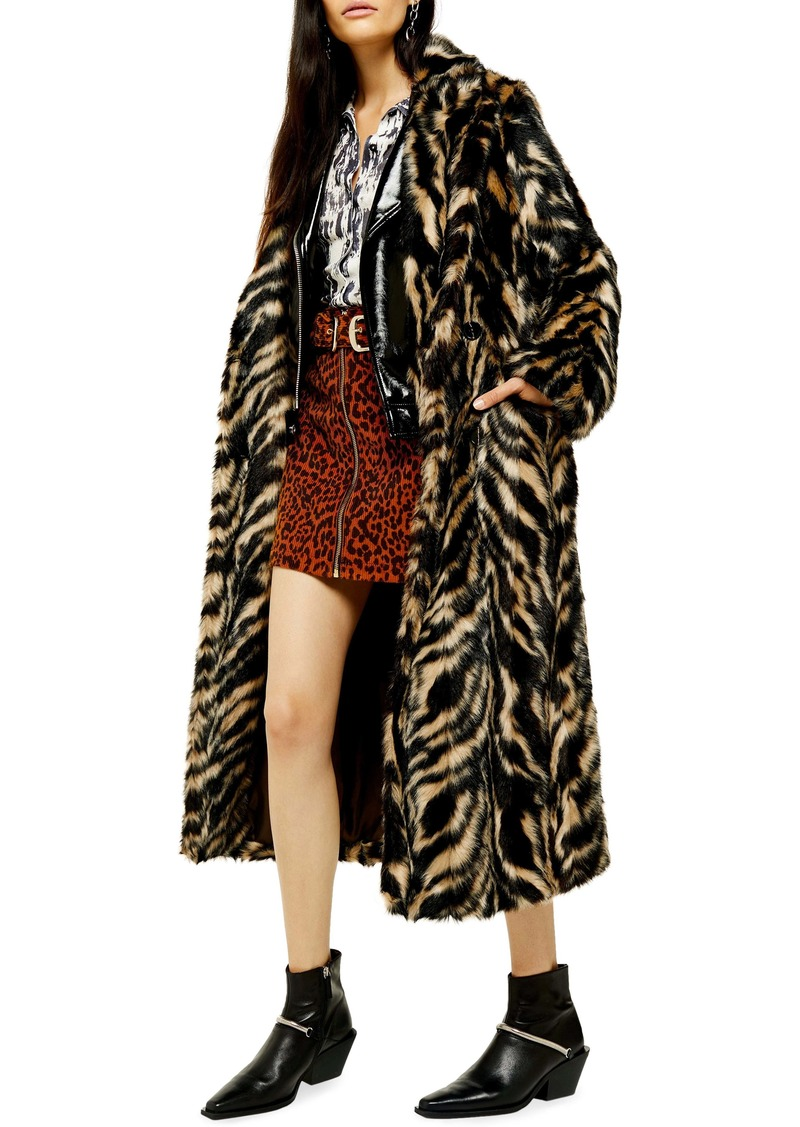 Topshop Toni Tiger Faux Fur Double Breasted Coat