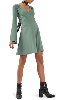 Topshop Trumpet Sleeve Skater Dress