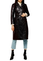 Topshop Tula Faux Alligator Trench Coat