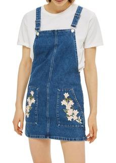 Topshop Tulip Embroidered Denim Pinafore Dress