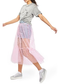 Topshop Tulle Overlay Denim Skirt