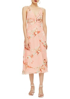 Topshop Twist Front Floral Midi Dress