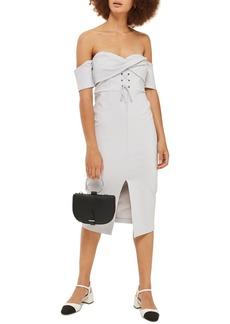 Topshop Twist Lace-Up Off the Shoulder Dress