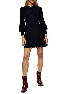 Topshop Twist Neck Long Sleeve Minidress