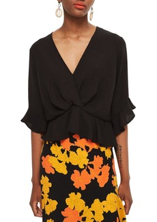 Topshop Twist Peplum Hem Top