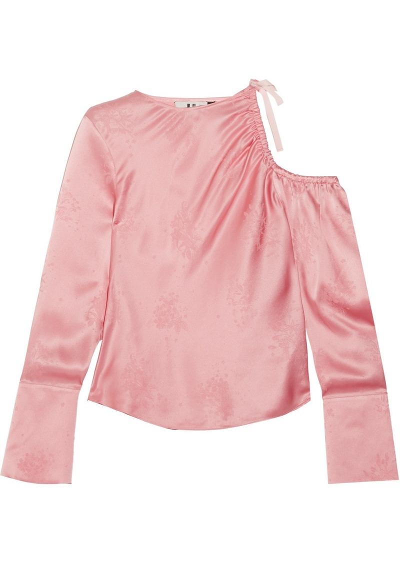 Topshop Lambeth cutout silk-jacquard blouse