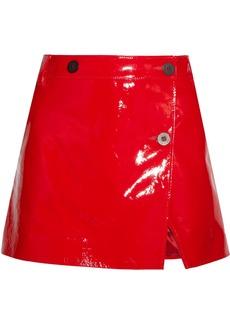 Topshop Unique Patent-leather wrap mini skirt