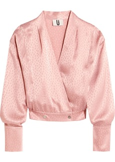 Topshop Unique Silk-jacquard wrap blouse