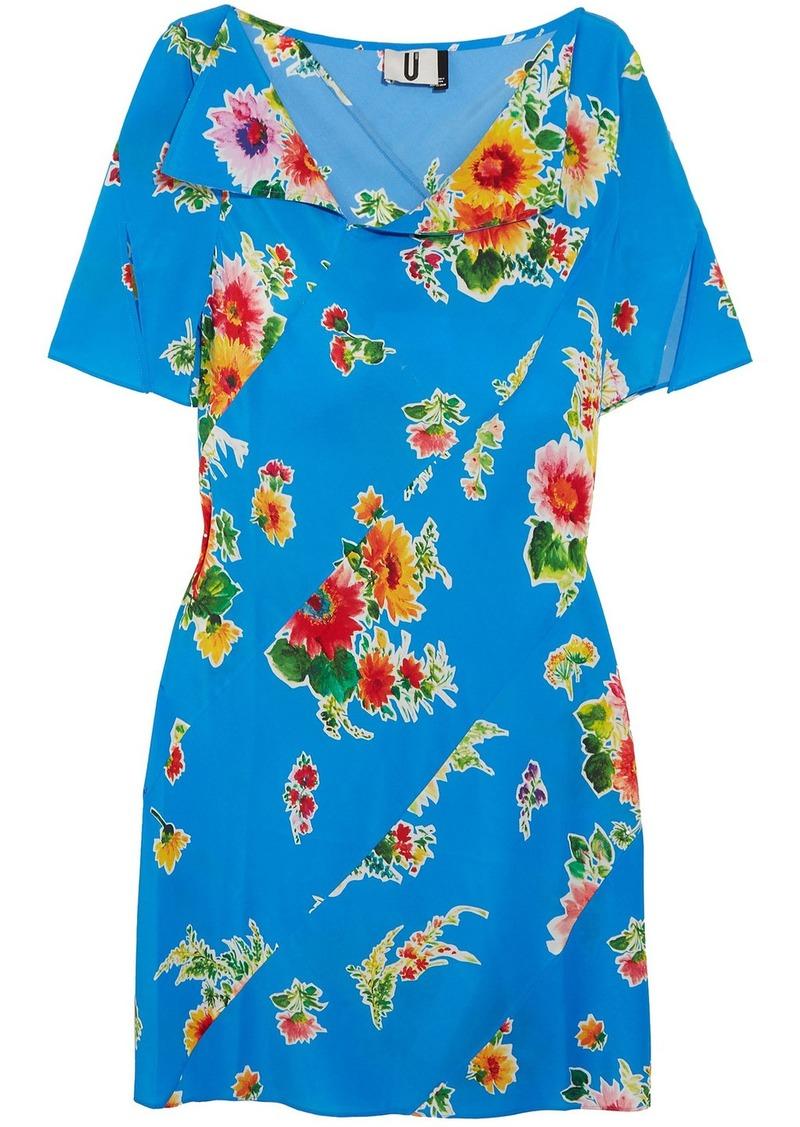 Topshop Unique Woman Paneled Floral-print Silk-satin Mini Dress Azure