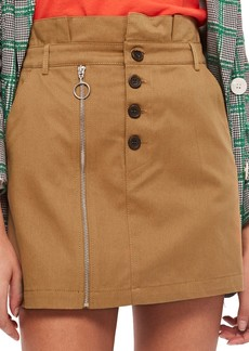 Topshop Utility Button Miniskirt