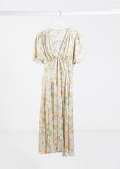 Topshop v-neck midi dress in cream floral