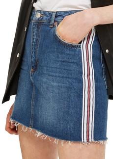 Topshop Varsity Stripe Denim Miniskirt