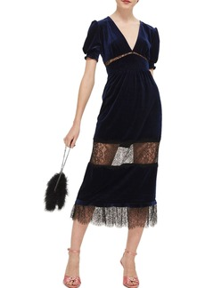 Topshop Velvet & Lace Puff Sleeve Midi Dress
