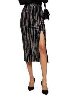 Topshop Velvet Glitter Midi Skirt