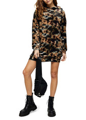 Topshop Velvet Tie Dye Hooded Minidress