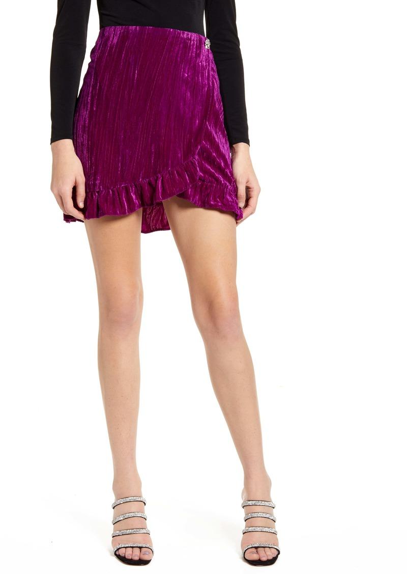 Topshop Velvet Wrap Miniskirt