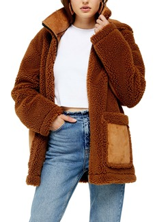 Topshop Vinnie Hooded Faux Shearling Jacket