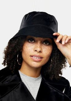 Topshop vinyl bucket hat in black