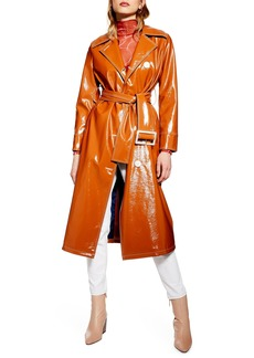 Topshop Vinyl Trench Coat