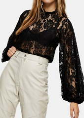 Topshop Volume Sleeve Floral Lace Blouse