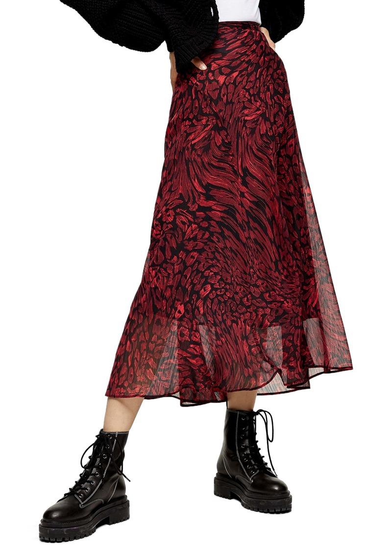 Topshop Warped Leopard Print Godet Midi Skirt