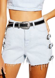 Topshop West Buckle Denim Shorts