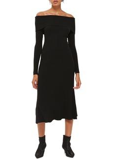 Topshop Wide Rib Off the Shoulder Dress