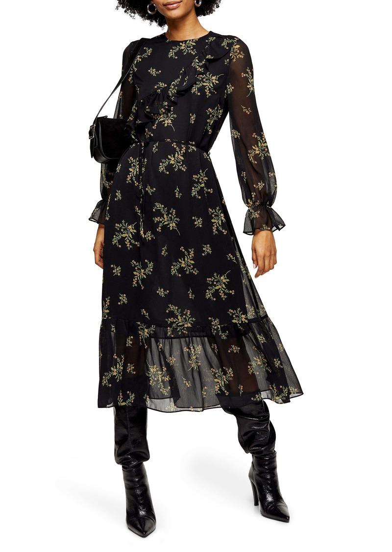 Topshop Wild Floral Long Sleeve Chiffon Midi Dress