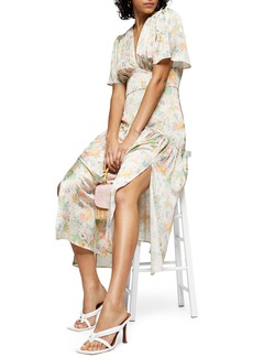 Topshop Willow Floral Angel Sleeve Satin Midi Dress