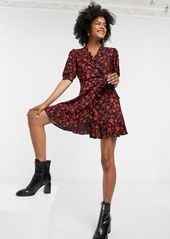 Topshop wrap dress in red floral