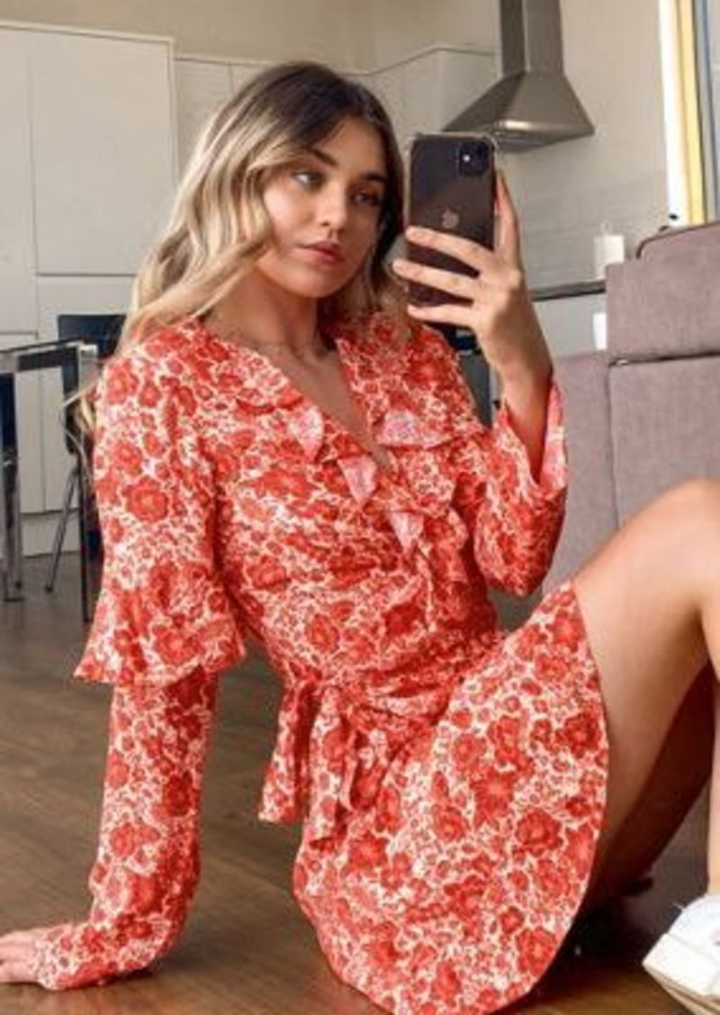 Topshop wrap mini dress in red floral print