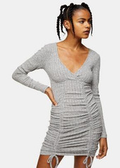 topshop wrap mini dress with ruched detail in gray