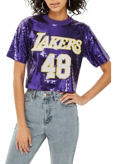 Topshop x UNK Lakers Sequin Crop Top