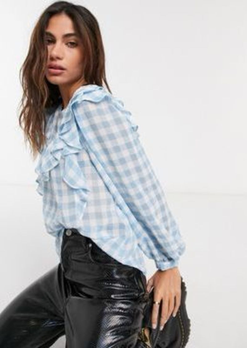 Topshop yoke top in dobby mesh in blue