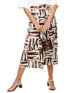 Topshop Zebra Print Linen Blend Midi Skirt