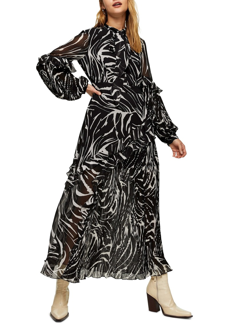 Topshop Zebra Print Ruffle & Pleat Long Sleeve Maxi Dress