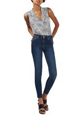 Topshop Zebra Print Shawl Collar Surplice Bodysuit