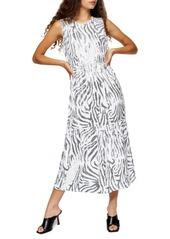 Topshop Zebra Sequin Midi Dress