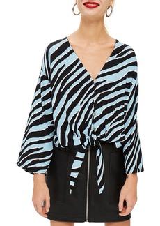 Topshop Zebra Tie Front Top