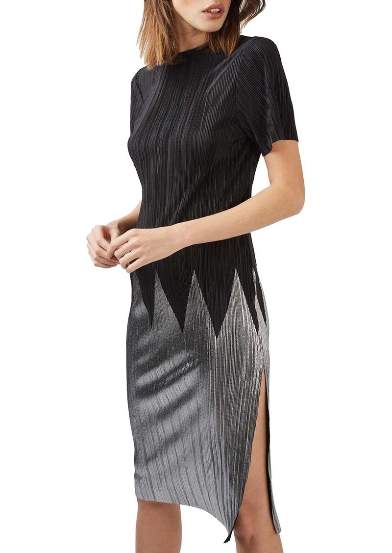 Topshop Zigzag Plissé Dress