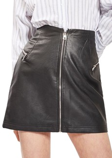 Topshop Zip Faux Leather Miniskirt