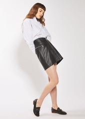 Topshop Zip Faux Leather Miniskirt