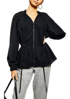 Topshop Zip Front Blouse