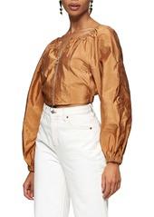 Topshop Zip Front Crop Blouse