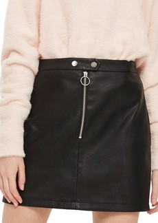 Topshop Zip Front Faux Leather Miniskirt